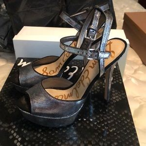 Sam Edelman platform pewter sandals sz 8